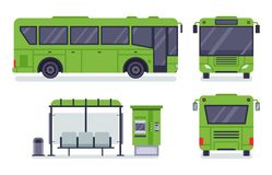 Flat city bus. Public transport stop, autobus ticket office and buses vector illustration set stock illustration