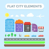 Flat City Elements Royalty Free Stock Photography