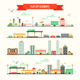 Flat city elements set. Great set with city elements for creating your own map. Map elements for your pattern, infographic, web site or other type of design Stock Photos