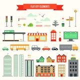 Flat city elements set Royalty Free Stock Images