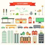 Flat city elements set Royalty Free Stock Images