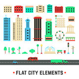 Flat city elements on white background Stock Photo
