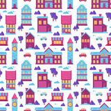 Flat city houses seamless pattern Stock Images