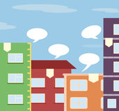 Flat City illustration with houses Royalty Free Stock Image