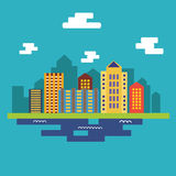 Flat city landscape. On the blue background vector illustration