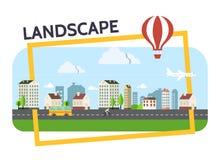 Flat City Landscape Composition Stock Images