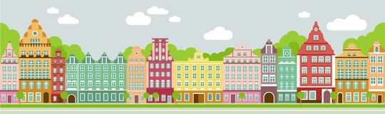 Flat city landscape. Seamless colorful panoramic town in european style vector illustration