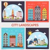 Flat City Landscape Square Concept Royaltyfri Bild
