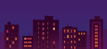 Flat City Night Buildings Royalty Free Stock Image