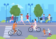 Flat city people street. Town park nature landscape bicycle walk urban lifestyle walking man and woman. City background. Flat city people street. Town park vector illustration