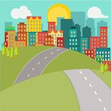 Flat city and road Stock Photography
