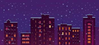 Flat City Snow Night Buildings Royalty Free Stock Photos