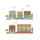 Flat City Street. Color Vector Flat Line Illustration Of Small City Street With Stores, Shops And Pffices Stock Image