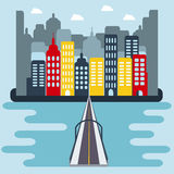 Flat Cityscape with Buildings and Bridge over the River Stock Images