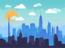 Flat cityscape in the morning with blue sky, white clouds and sun. Urban city skyline illustration. Modern flat panoramic vector background Stock Image