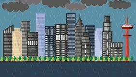 Flat cityscape in a  rainy day Stock Photo