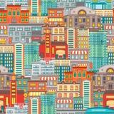 Flat Cityscape Seamless Pattern Stock Photo