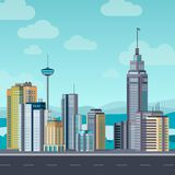 Flat cityscape. Skyscraper modern buildings city office center, apartment house hotel residential block exterior urban vector illustration