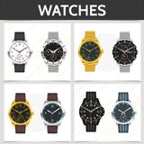 Flat Classic Expensive Watches Square Concept vector illustration