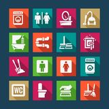 Flat cleaning icons set Stock Image