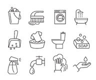 Flat cleaning icons. Vector black flat cleaning icons on white Royalty Free Stock Images