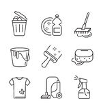 Flat cleaning icons. Vector black flat cleaning icons on white Stock Image
