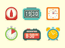 Flat clock icons set with digital and analog displays. Kitchen timer, flip clock, modern wall clock, sport stopwatch, alarm with bells vector illustration