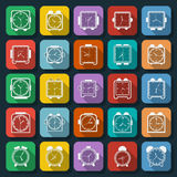 Flat clock icons vector set Royalty Free Stock Photo