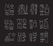 Flat clothes complect icons black Stock Photo
