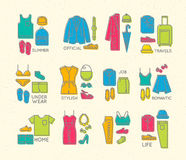 Flat clothes complect icons color Royalty Free Stock Photo
