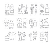 Flat clothes complect icons Royalty Free Stock Photos