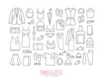 Flat Clothes Icons Stock Images