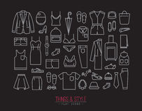 Flat clothes icons black Royalty Free Stock Photos