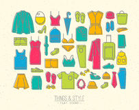 Flat clothes icons color Stock Photo