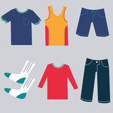 Flat Clothing Icons. An image of a flat clothing icons Royalty Free Stock Photography