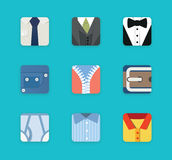 Flat clothing icons Stock Photos
