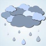 Flat rainy cloud card Royalty Free Stock Photo
