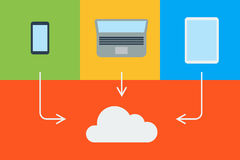 Flat cloud computing background. Data storage network technology. Multimedia content and web sites hosting Stock Image