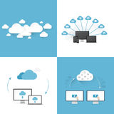 Flat cloud computing  illustration templates set o Royalty Free Stock Photo