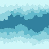 Flat cloud frame illustration, set of circle blue clouds Royalty Free Stock Images
