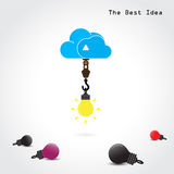 Flat cloud symbol and creative light bulb concept Royalty Free Stock Photo