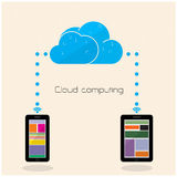 Flat cloud technology computing background concept. Data storage Stock Images