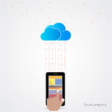 Flat cloud technology computing background concept. Data storage. Network sever internet technology. Multimedia content and web sites hosting.Social networking Stock Image