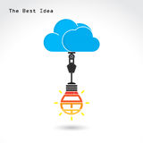 Flat cloud technology computing and creative bulb idea concept. Stock Photos