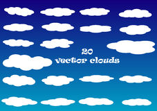 Flat cloud vector icons isolated over blue sky background Royalty Free Stock Photography