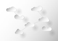 Flat clouds design with chain. Flat clouds design with chain in Paper Cut concept Royalty Free Stock Photography