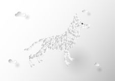 Flat clouds design with Wolf shape. Flat clouds design with Wolf shape in Paper Cut concept Stock Images