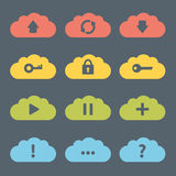 Flat Clouds Icon Set. Royalty Free Stock Photo