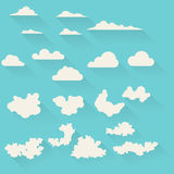Flat clouds set. In vector Stock Photos