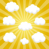 Flat clouds on yellow sky and beautifull shadow. Vector elements Stock Photos
